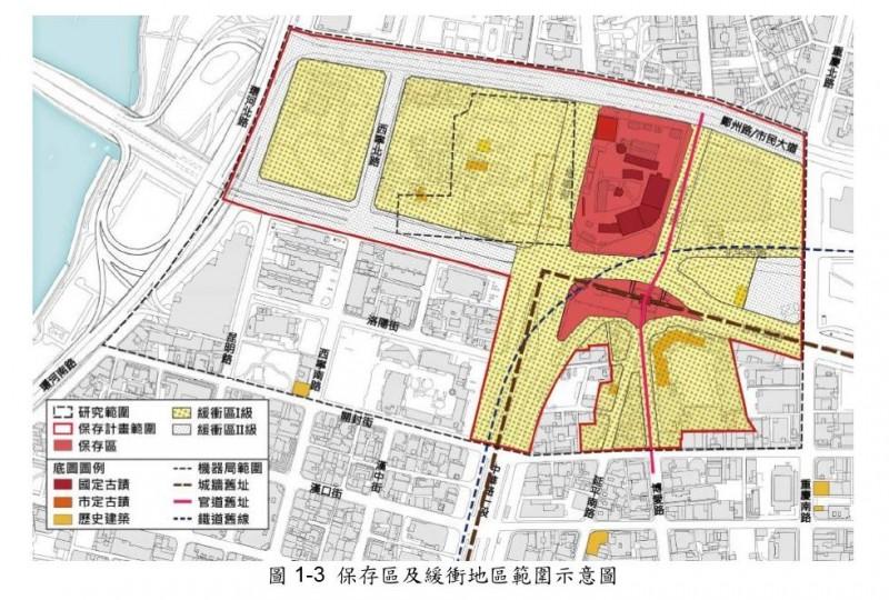 台北市北門及周邊被畫定「保存區」及「緩衝區」,恐將衝擊台北市府的「國家門戶計畫」。(圖由文化部提供)
