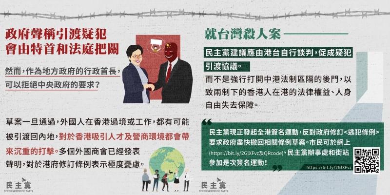 民主黨也強調,修訂《逃犯條例》會對香港吸引人才及營商環境造成嚴重打擊。(圖擷取自香港民主黨臉書)