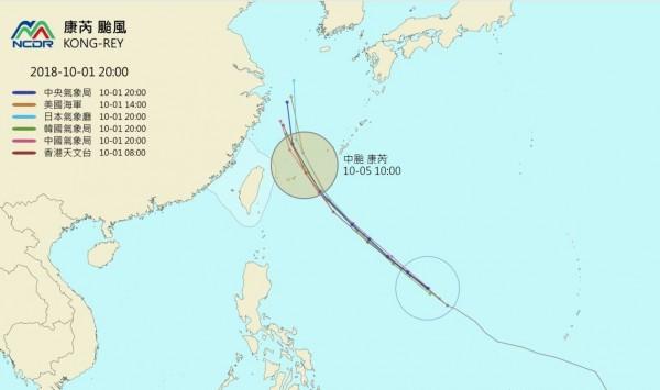 各國最新預測路徑顯示,康芮颱風將往宮古島方向移動,但暴風圈仍有可能在週五、週六掃過台灣北部近海,到時氣象局也可能發布海上颱風警報。(圖擷取自NCDR)