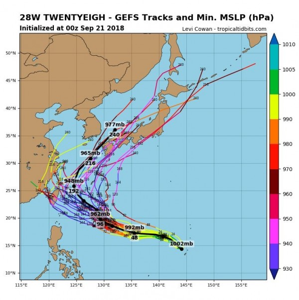 目前多數預設路徑均呈鐮刀狀,指出該低氣壓會先朝西北方移動靠近台灣,再轉東北方橫掃日本。(圖擷取自tropicaltidbits)