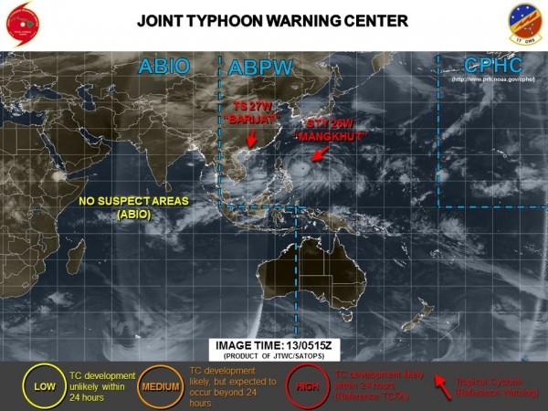 目前的山竹颱風移動路徑,橫跨菲律賓北部,直撲中國。(圖擷取自JTWC)