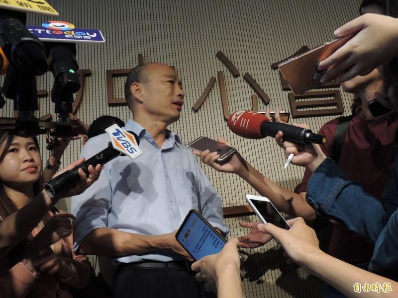 韓國瑜自述生平首投就是投民進黨,被林濁水諷刺「地球之外還有一個被征服的外太空呢」。(記者王榮祥攝)