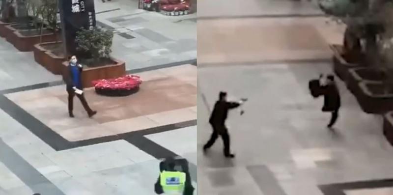 中國四川成都今天出現1名戴著口罩、手持菜刀的男子,在賣場追著民眾與員警跑,最後被開槍制伏。(圖取自微博)