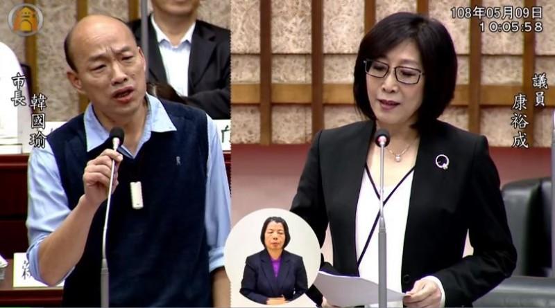 議員康裕成(右)針對高雄市內重大建設「橋頭科學園區」進行質詢,韓國瑜接連跳針回應。(取自高雄市議會)