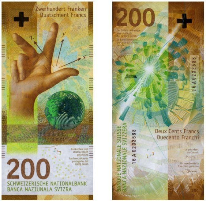 瑞士200法郎紙鈔。(圖擷取自IBNS官網)