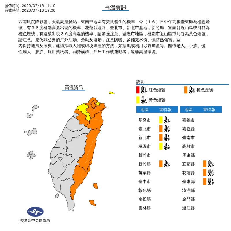 氣象局上午11時10分對台北市、新北市、基隆市、桃園市、新竹縣、宜蘭縣、花蓮縣及台東縣等8縣市發布高溫特報。(擷取自中央氣象局)