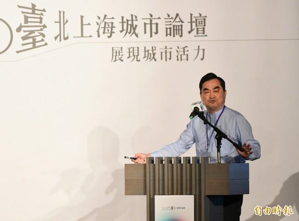 2016台北上海城市論壇23日上午舉行開幕式,台北市副市長鄧家基進行開幕演說。(資料照,記者張嘉明攝)