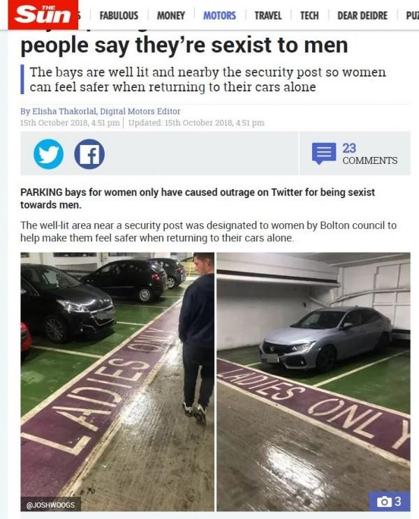 英國博爾頓市一處大大寫著「女士專用」的停車位,引起許多網友論戰。(圖擷取自太陽報)