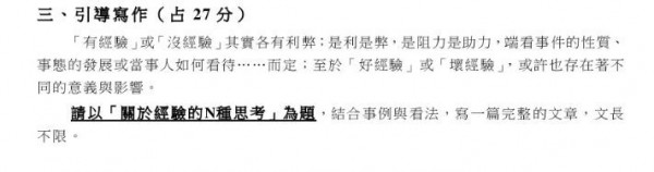 國文科作文考題沒有提到一定要用中文作答,有考生通篇用英文寫作,大考中心將開會討論要如何給分。(圖擷取自大考中心網站)