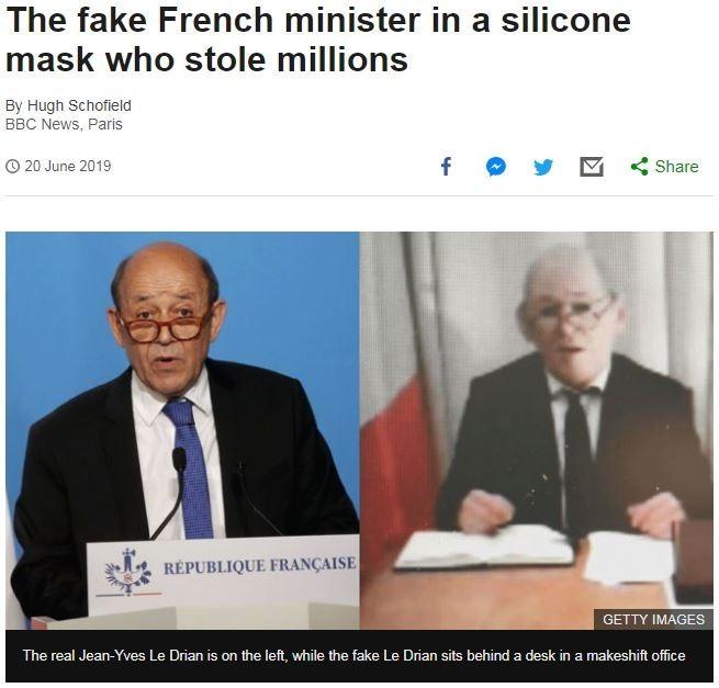 左為真正的法國外交部長勒德里安,右為騙子希克利。(圖擷取自《BBC News》)