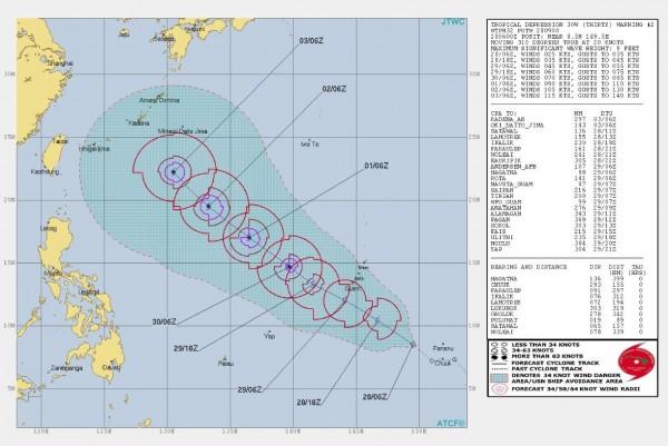美軍聯合颱風警報中心預測準颱風康芮將會在下個月3日移動到台灣東方海面。(圖擷取自JTWC)