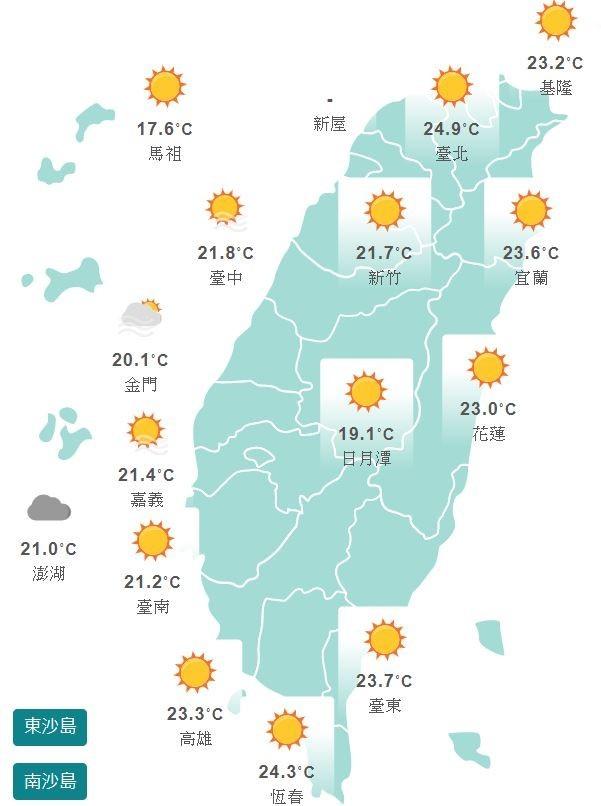 今日各地氣溫。(圖擷取自氣象局)
