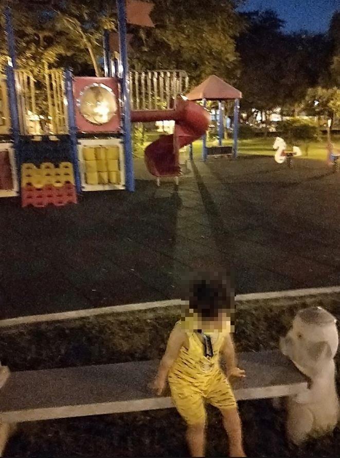 原po拍下昨日與孩子遊玩的公園。(圖擷自靈異公社)