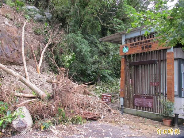 內洞森林遊樂區也被颱風颳傷休園,入口就是崩山。(記者黃昭國攝)