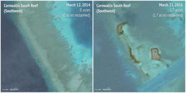 2014-2016南華礁(Cornwallis South Reef)西南方。(圖擷自商業內幕)
