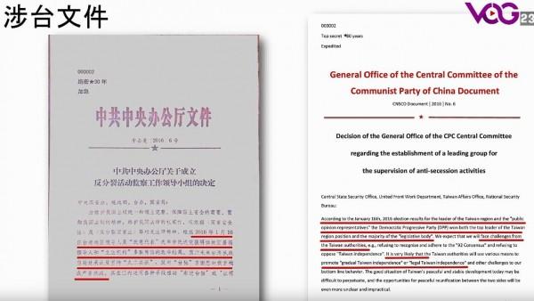 「中共中央辦公廳關於成立反分裂活動監察工作領導小組的決定」機密文件,顯示中國於2016年蔡英文當選總統後成立對台監控小組。(圖擷自戰友之聲YouTube)