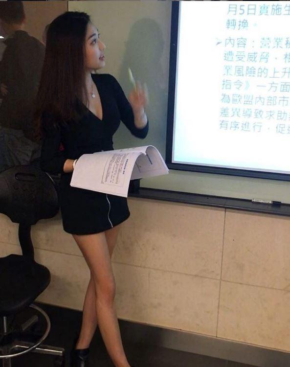 正妹講師成為同學關注焦點。(圖翻攝自Instagram)