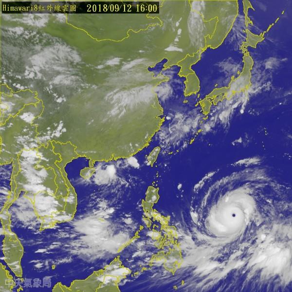 氣象局預報員表示,目前山竹的強度和今年的瑪麗亞颱風、燕子颱風並列今年西太平洋最強颱,不過山竹颱風仍有增強空間,有機會打破今年最強颱的紀錄。(中央氣象局)