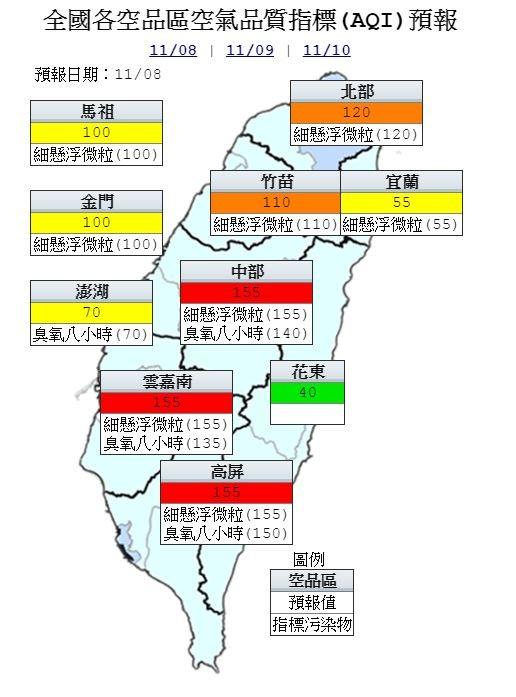 明日西半部空品不佳,中南部為「紅色警示」等級,北部、竹苗地區為「橘色提醒」等級。(行政院環保署空品網)