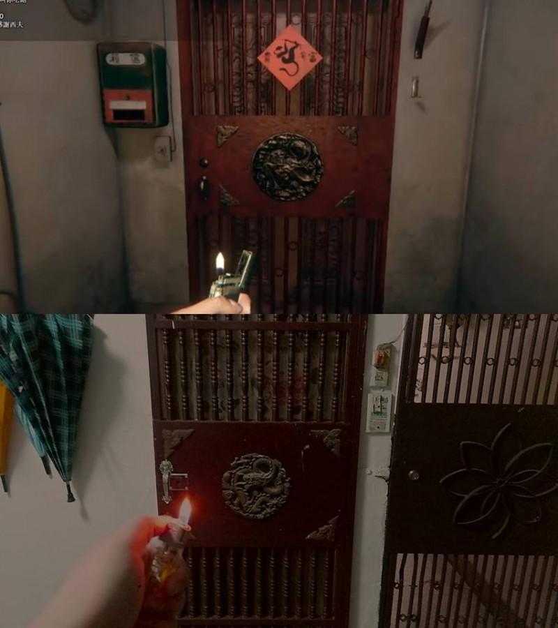 「上面是遊戲畫面,下面是我家的門」,有網友發現《還願》遊戲畫面竟然就出現在他家。(圖擷取自臉書社團「爆廢公社公開版」)