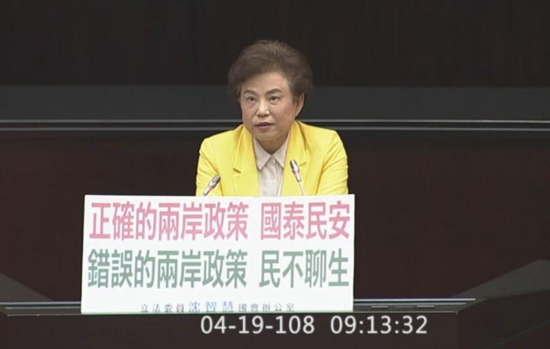 國民黨立委沈智慧認為兩岸政策會影響國家安全與經濟。(沈智慧辦公室提供)