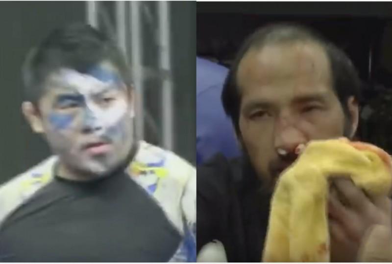 中國格鬥狂人徐曉冬(左)47秒KO點穴大師呂剛(右)。(圖擷取自網路)