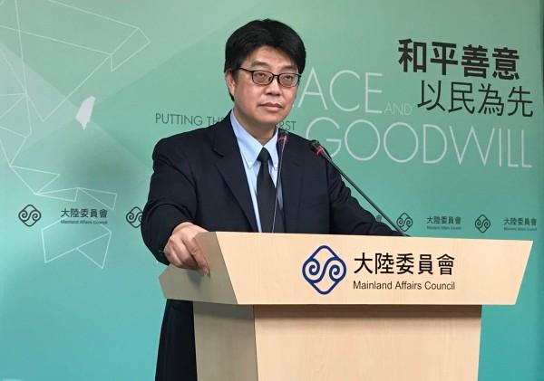 陸委會發言人邱垂正(圖)6日天表示,我方已多次要求中國官方通報非洲豬瘟相關疫情,但中國持續「已讀不回」。(中央社)