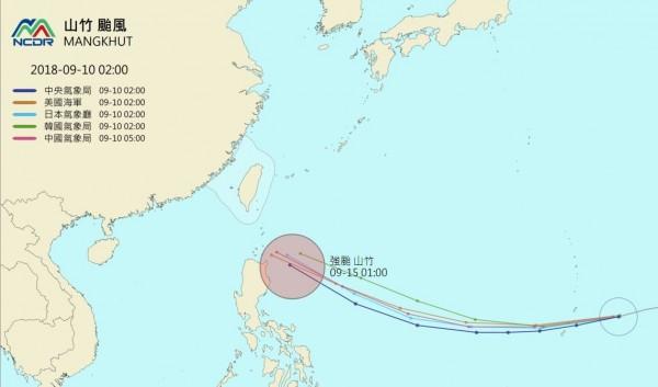 「山竹」颱風路徑各國預測圖。(圖擷取自國家災害防救中心)