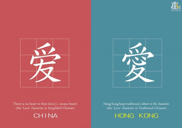 中國與香港間簡體、繁體的差別。(圖片擷取自本土工作室臉書)