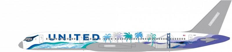 牟宗瑋所設計的飛機圖樣設計以藍綠色調為主,融合了舊金山重要元素:陽光、海岸、棕櫚樹和金門大橋,她還特地在機長室的窗戶畫上太陽眼鏡,象徵加州的熱情陽光。(牟宗瑋提供)