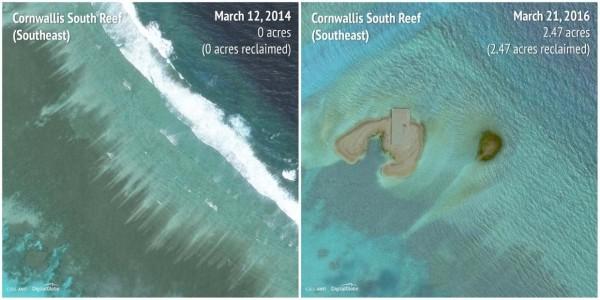 2014-2016南華礁(Cornwallis South Reef)東南方。(圖擷自商業內幕)