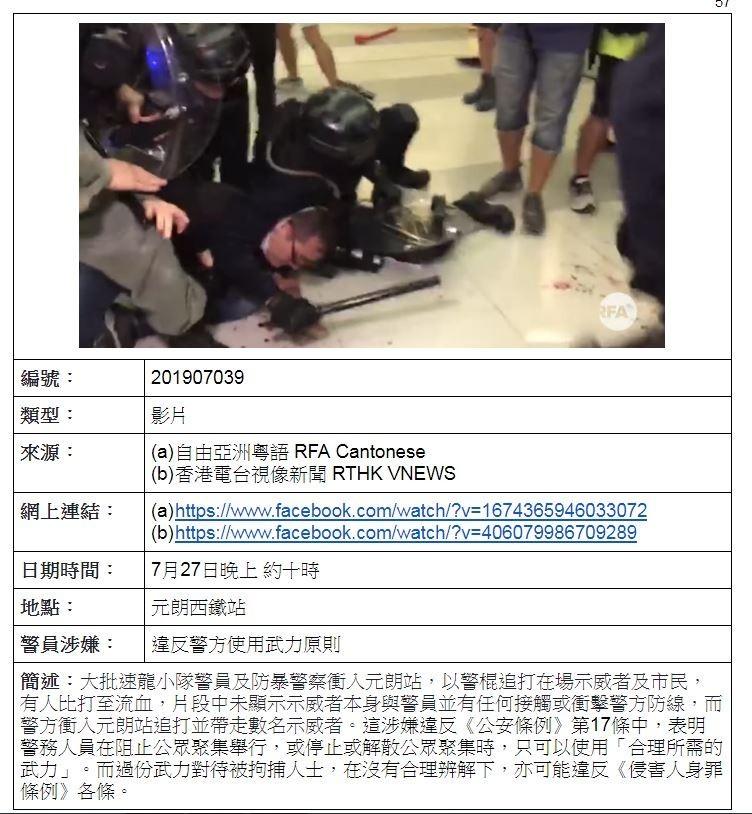 該份報告使用公開的影片並且附上來源、時間、地點、警員涉嫌違反的法條以及對該事件做出簡述。(圖擷取自《香港警隊的法定權力及監管》)