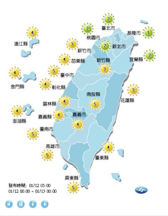 各地天氣紫外線指數。(圖取自氣象局)