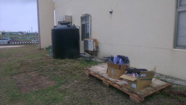 後院中有兩個大紙箱。(圖截取自PTT)