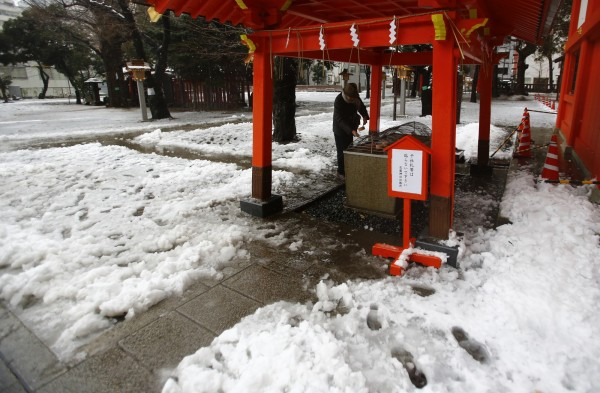 北日本受暴風雪影響,各地積雪,融雪也造成不少行人受傷、車輛打滑。圖為東京花園神社一景。(美聯社)