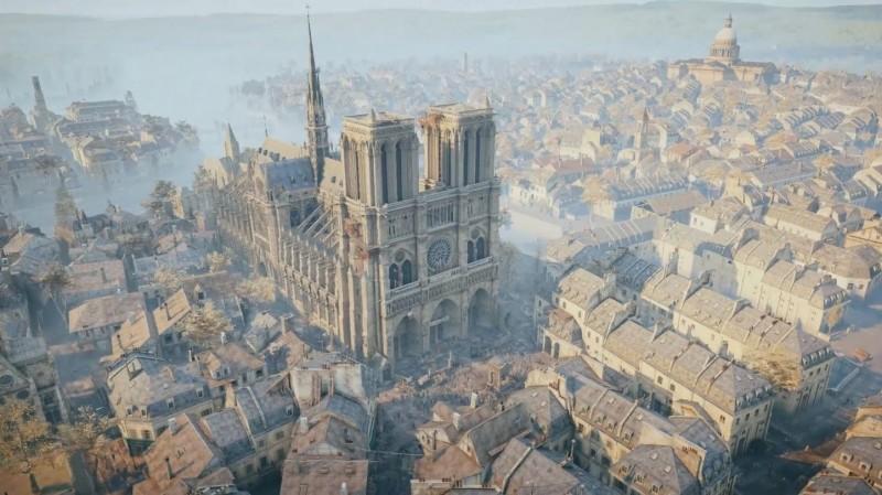 在聖母院陷入火海之後,全球許多網友也在推特上傳遊戲中聖母院的相關影片。(圖擷取自Twitter)