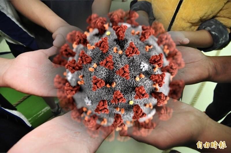 德國研究顯示,新型冠狀病毒肆虐全球,而冠狀病毒可附著在物體上存活最長9天。(本報合成)