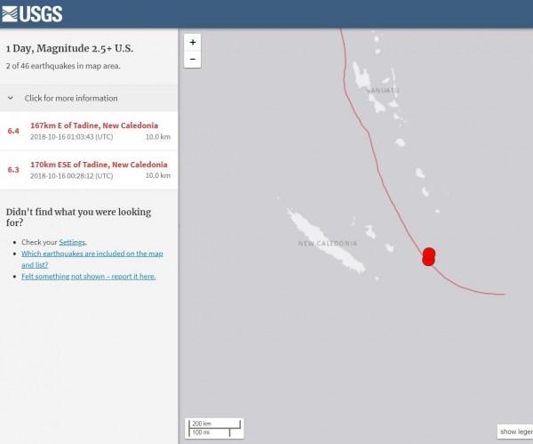 美國地質調查局最初公布第二起地震規模為6.8,隨後下修至6.4。(擷取自USGS)