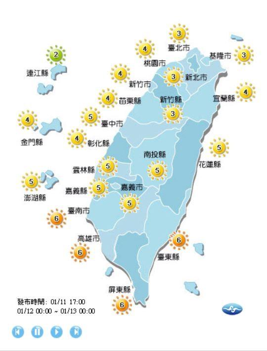 明日除了連江縣為低量級,台南、高雄市及台東、屏東縣為過量級外,全台其他縣市皆為中量級。(圖擷自中央氣象局)