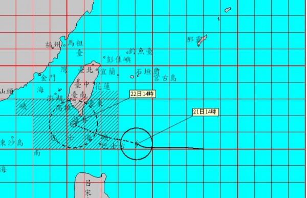 今晚到星期二是天鴿颱風影響最劇烈時刻。(圖擷取中央氣象局)