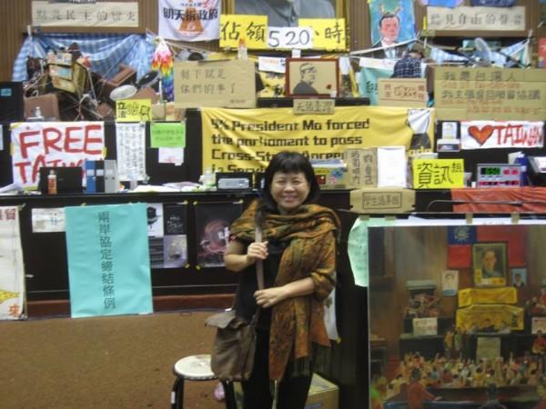 蔣月惠在2014年也曾參加太陽花學運,當時還跟著進駐立法院14天。(圖擷自蔣月惠臉書)