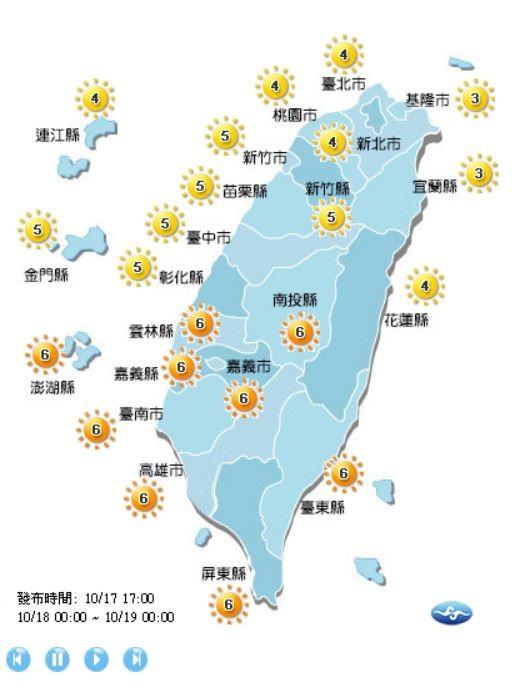 紫外線方面,明天南投縣、雲林縣、嘉義縣、嘉義市、澎湖縣、台南市、高雄市、屏東縣、台東縣為6級高量級,其餘縣市皆為3至5級的中量級。(圖擷取自中央氣象局)