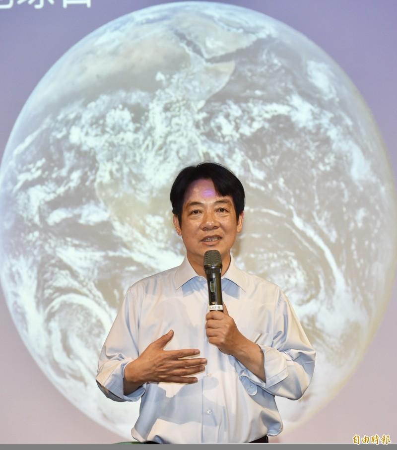 前行政院長賴清德22日出席「與大自然共生」2019世界地球日座談會。(記者黃耀徵攝)