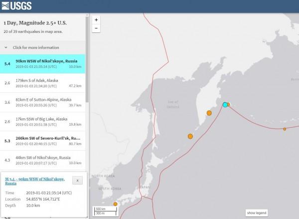 俄羅斯堪察加半島近海發生芮氏規模5.4極淺層強震。(擷取自USGS)