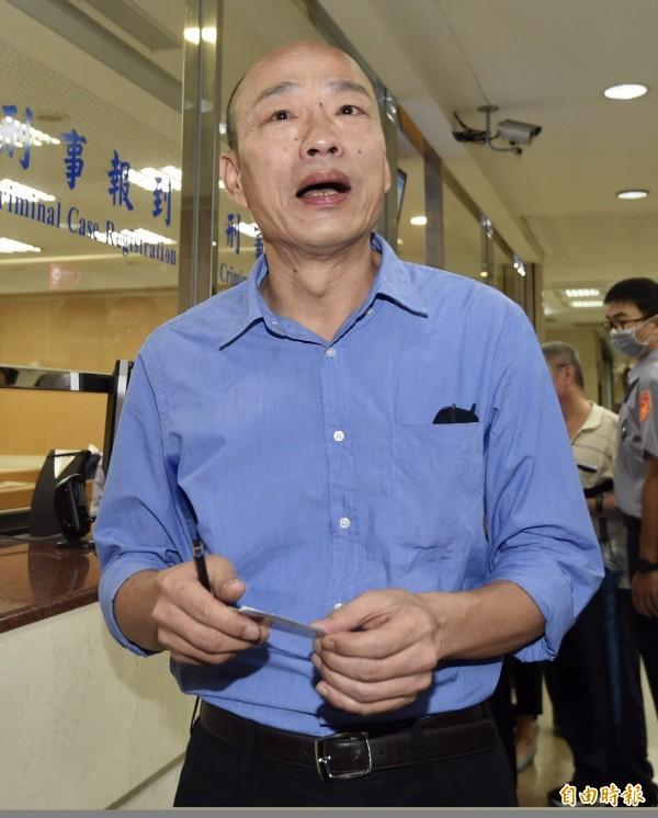 高雄市市長國民黨候選人韓國瑜,提出政見,其中一項政策指出,「母語請你回家學,不要在學校浪費學校的時間」。引來本土語言團體不滿。(資料照,記者簡榮豐攝)