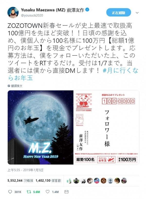日本億萬富翁前澤友作5日在推特表示,要從轉推他貼文的網友中選出100人,贈與每人100萬日圓,讓他的貼文在2天內轉推551萬次,打破紀錄。(圖擷取自前澤友作推特)