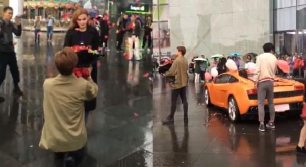 中國富二代對歐美女友求婚,被拒絕後狂喊「我有錢」。(圖擷取自影片)