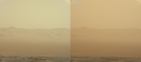 NASA好奇號回傳觀測資料,圖中可見沙塵暴在6月7日至10日間的變化,(左圖拍攝時間為6月7日,右圖則為6月10日)。(擷取自NASA)