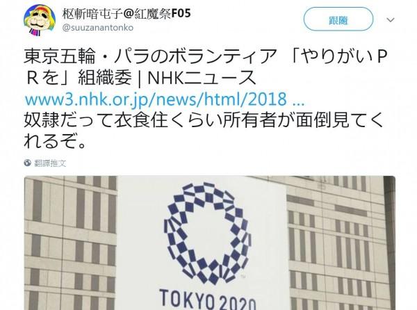 2020東京奧運面臨的最大問題是人力不足,不過籌備委員會被網友質疑,寧可花錢請廣告公司宣傳「當志工的意義」,也不願負擔志工的交通、住宿費用,讓網友怒酸「奴隸的主人好歹會負責吃住耶」。(圖擷自推特)