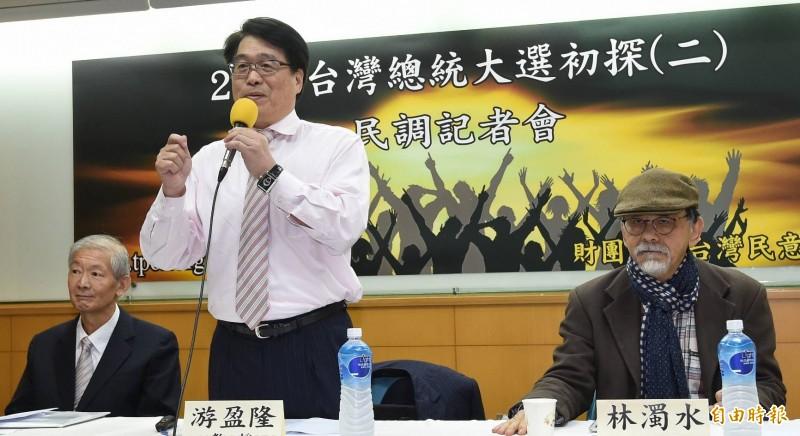 台灣民意基金會27日舉行「2020台灣總統大選初探」民調發表會,董事長游盈隆主持。(記者劉信德攝)